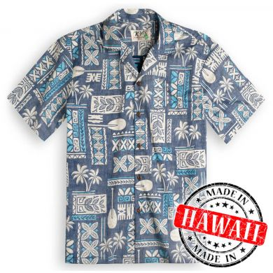 "Hawaii Shirt ""Tapa Blauw"""