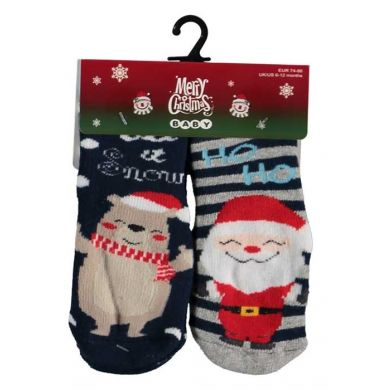 "Baby sokjes ""Ho ho ho & Let it snow"" 2 paar (anti-slip)"